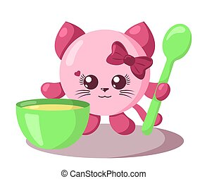 Funny cute kawaii cat with round body, spoon and bowl in flat design with shadows.
