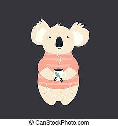 Funny cute koala in sweater drinking tea