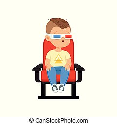 Funny cute little boy in 3d glasses sitting on a red chair...