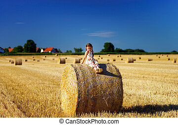 Funny cute little girl posing on the haystack in summer...