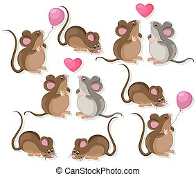 Funny cute mice couple characters in love. Cartoon Vector...