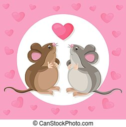 Funny cute mouse cartoon character with a baloon. Vector illustration