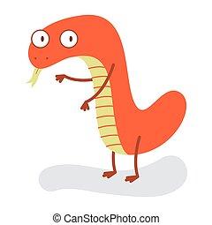Funny Cute Orange Snake Halloween Monster Flat Design Vector