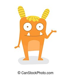 Funny Cute Orange Square Halloween Monster with Rounded Horn Flat Design Vector