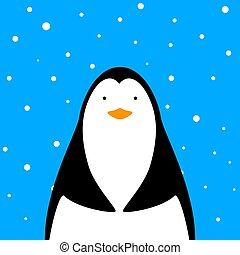 Funny, cute penguin illustration.