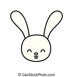 funny cute rabbit little head animal cartoon thick line