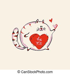 Funny cute round cat with word FOR YOU on belly , fashion print or web vector design