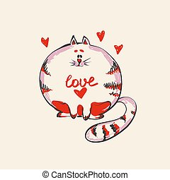 Funny cute round cat with word Love on belly , fashion print or web vector design