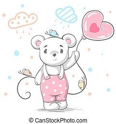 Funny, cute teddy bear - cartoon illustration.