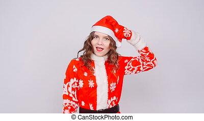 Funny Cute Woman wearing Santa Claus hat - Cute Woman...