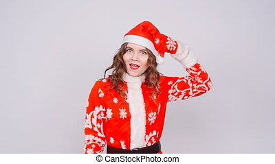 Funny Cute Woman wearing Santa Claus hat