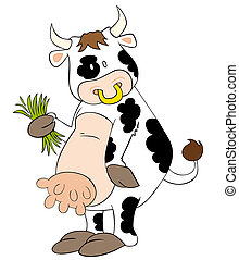 Funny dairy cow with grass blades. - This is a funny dairy ...
