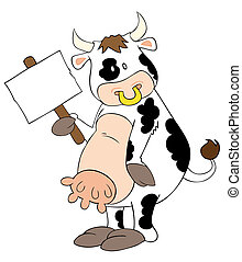 Funny dairy cow with white placard.