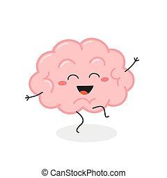Funny dancing cartoon brain character vector illustration