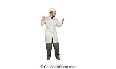 Funny dancing construction worker, architect, Electrician in helmet on white background.