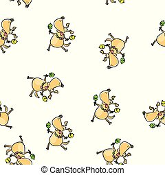 Funny dancing dog with maracas seamless pattern
