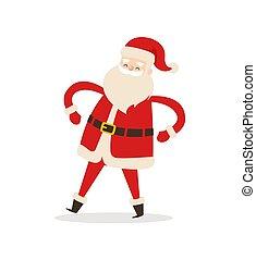 Funny Dancing Santa Claus Vector Illustration - Funny...