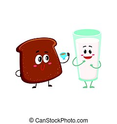 Funny dark, brown bread slice and milk glass characters