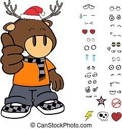funny deer kid cartoon xmas collection set1