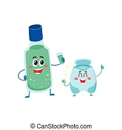 Funny dental floss and mouthwash, mouth rinse character,...