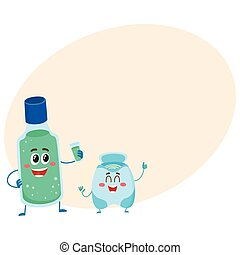 Funny dental floss and mouthwash, mouth rinse character