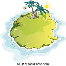 funny desert island - lonely green island with palm trees
