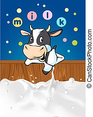 funny design with cow recommending great milk - vector illustration with cow cartoon, milk splash and colorful dotted design with milk logo