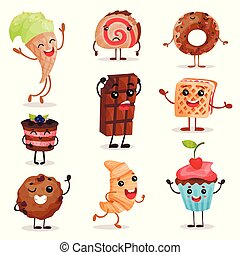 Funny dessert characters set, cute smiley sweets cartoon vector Illustrations