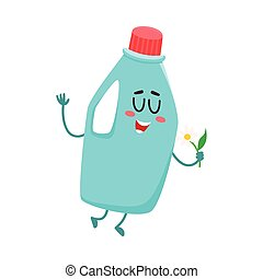 Funny detergent bottle character with smiling human face holding flower