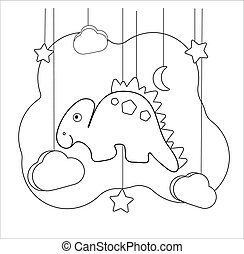 Funny dino Educational game with stegosaurus. For printing game on thematic archeology. Coloring page for children of preschool age. Vector illustration cartoon character dinosaur, moon, stars, clouds