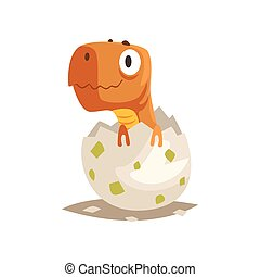 Funny dinosaur baby hatching from egg