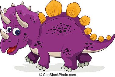 funny dinosaur cartoon - vector illustration of funny...