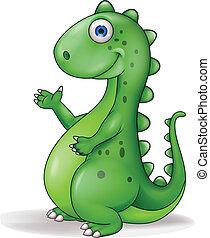 Funny dinosaur cartoon - Vector illustration of funny ...