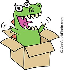 Funny dinosaur jumped out of the box. Vector illustration