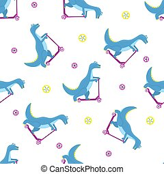 Funny dinosaur riding a scooter cartoon character. Seamless pattern for nursery, fabric, textile, kids apparel.