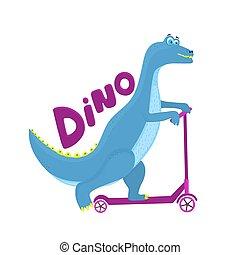 Funny dinosaur riding a scooter cartoon character