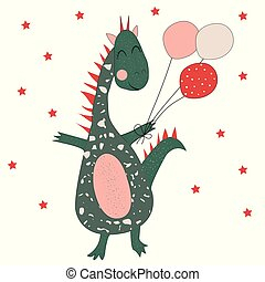 Funny dinosaur with balloons.