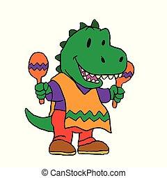 Funny dinosaur with maracas
