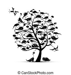 Funny dinosaurs, art tree for your design