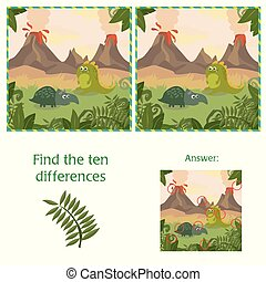Funny dinosaurs. Find 10 differences. Educational game -Cartoon illustration