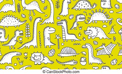 Funny dinosaurs. Seamless pattern for your design