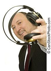 disc jockey - funny disc jockey with headphones