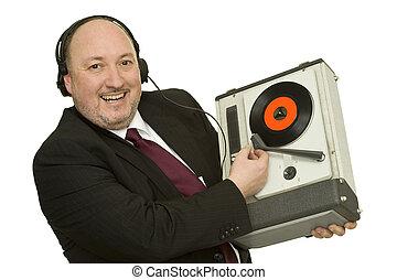 disc jockey - funny disc jockey with record player