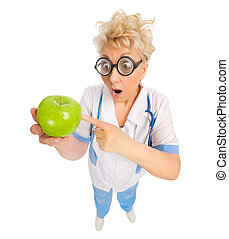 Funny doctor with green apple