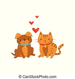 Funny dog and cat in love, cute domestic pet animals cartoon characters, best friends vector Illustration on a white background
