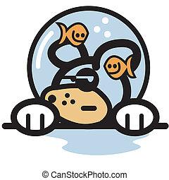 Funny Dog And Fish Bowl Clip Art