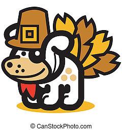 Funny Dog As Thanksgiving Turkey - Funny cartoon dog dressed...