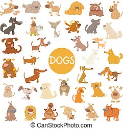 funny dog characters big set - Cartoon Illustration of Funny...