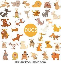 funny dog characters big set - Cartoon Illustration of Funny...