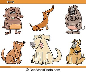 funny dog characters set